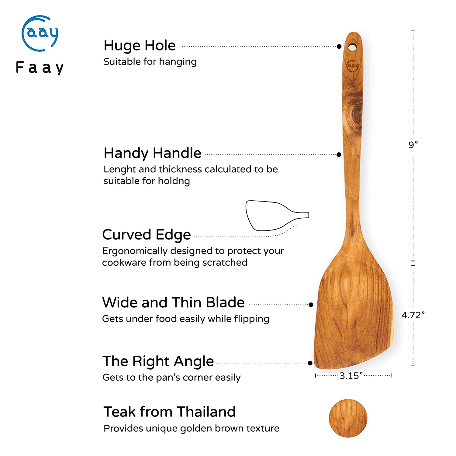 Natural FAAY 13.5 Inch Teak Wood Sautė Paddle//Turner//Spatula Wide and Long Handled Thai Wok Style Non Toxic and High Heat Resistance for Non Stick Cookware Durable