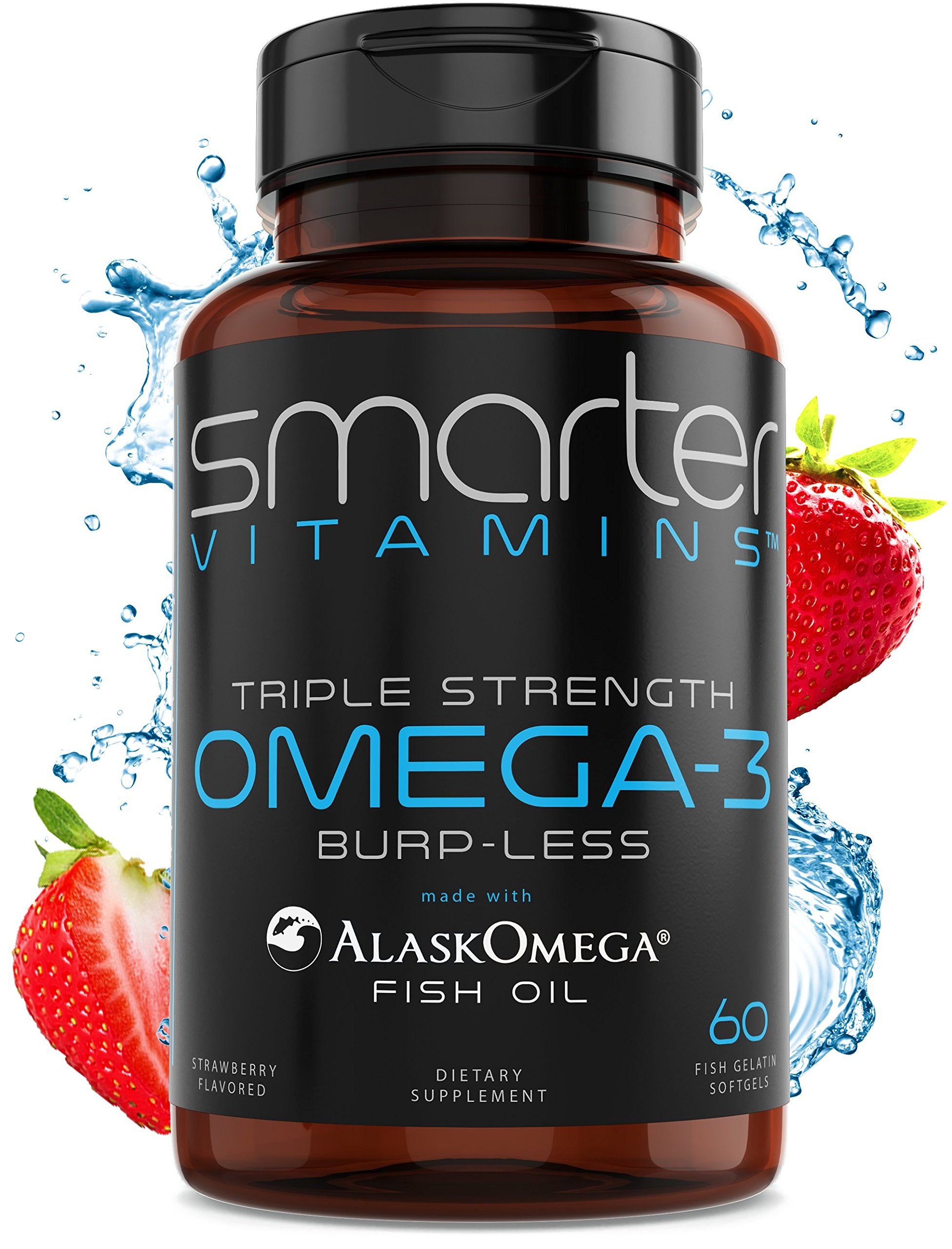 SmarterVitamins Omega 3 Fish Oil, Strawberry Flavor, Burpless, Tasteless, 2000mg, DHA Epa Triple Strength Brain Support, Joint Support, Made with AlaskOmega, Heart Support