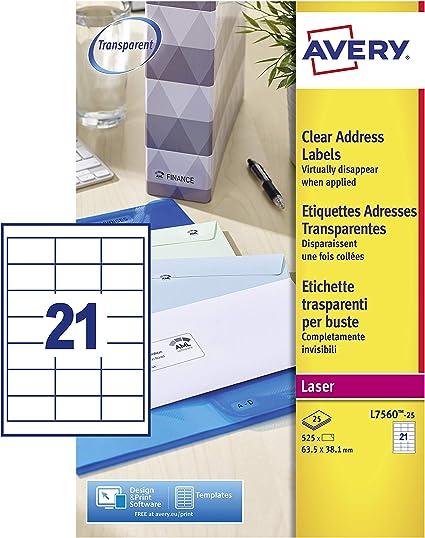 Avery España L7560-25. Caja de 525 Etiquetas Adhesivas Transparentes 63.5x38.1mm: Amazon.es: Oficina y papelería