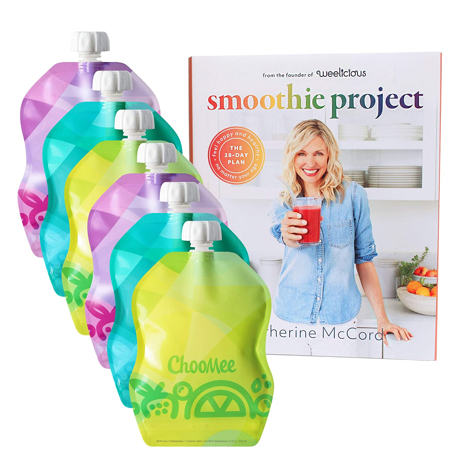 ChooMee Smoothie Project by Weelicious + SnakPack Reusable Food Pouches - New! | 6 CT, 8 oz | TropiColor Design, Ideal for Purees, Smoothie Blends and Baby Food