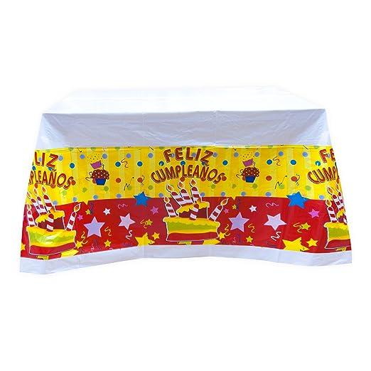 EuroFiestas Mantel Feliz cumpleaños 140x140cm.: Amazon.es: Hogar