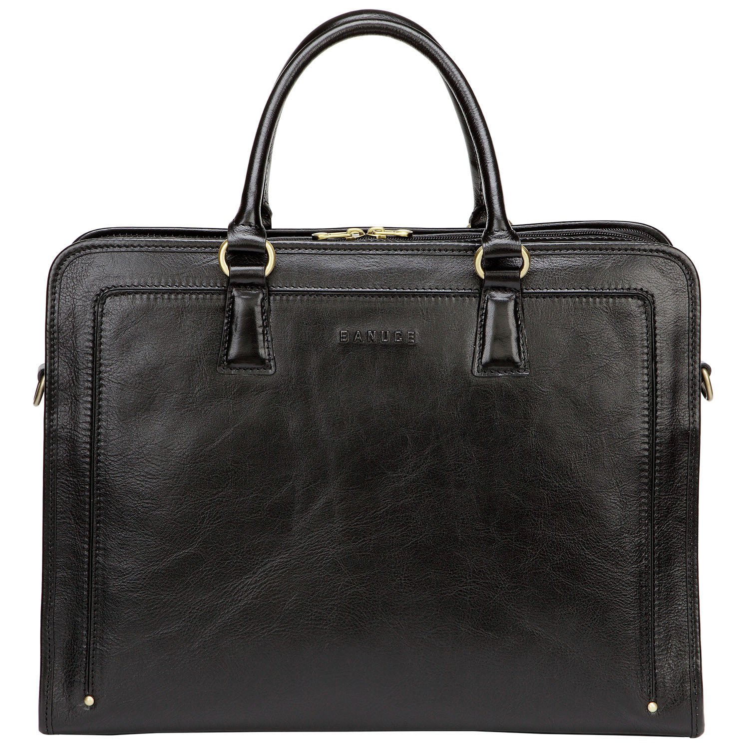 Banuce Full Grain Leather Briefcase for Women 14 inch Laptop Bag Business Tote Satchel Bag Shoulder Attache Case Black