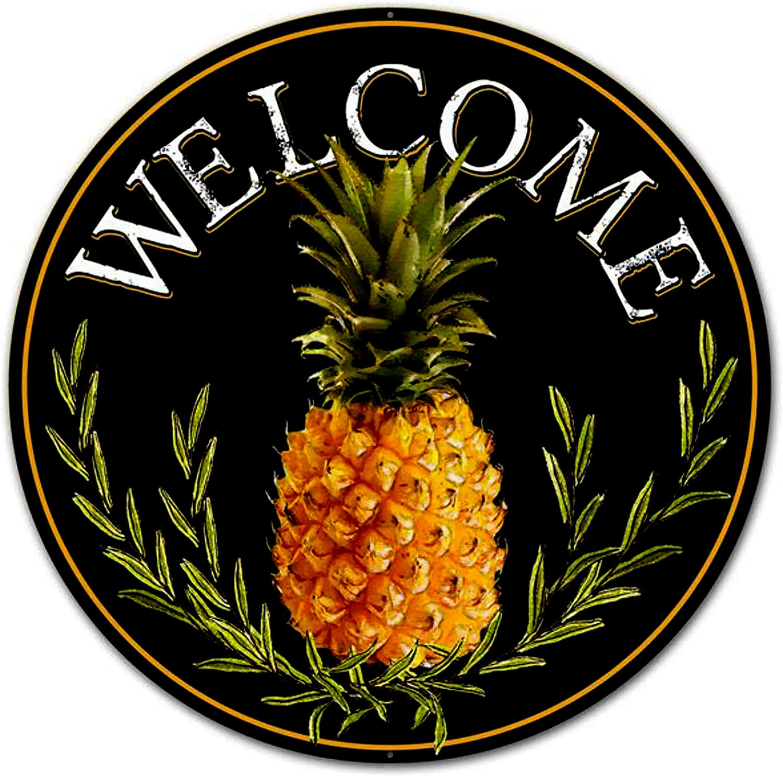 "Eletina mlfl Metal Tin Sign Farmhouse Vintage 12"" Round Metal Sign: Welcome Pineapple Wall Door Hanger Decor"