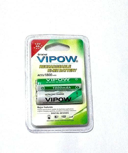 VIPOW 2 X AA RECHARAGEABLE NI MH BATTERY. 1800 mah High Quality General Purpose Batteries   Battery Chargers