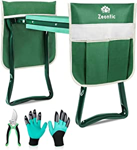 Zeontic Garden Kneeler and Seat, Portable and Foldable Garden Kneeling Chair, 2 Tool Bags 1 Pruning Shears 1 Pair Garden Gloves, Thickened EVA Garden Stool, Gifts for Gardeners