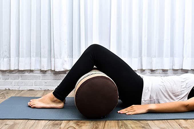 Leewadee Grande Yoga Bolster Redondo Pilates Almohadilla De Yoga Larga Almohadas Cervicales Reposacabezas Orgánico Naturalmente Ecológico, 65x25x25 ...