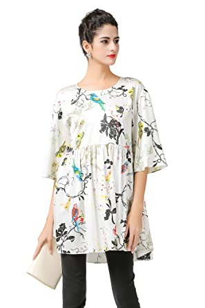 5a99005addea59 VOA Women s Silk White Print Scoop Neck Half Sleeve Blouse Long Top Shirt  B7361