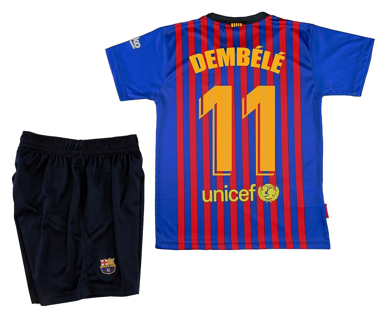 FCB CB Kit Primera Equipación Infantil Dembele del FC Barcelona Producto  Oficial Licenciado Temporada 2018-19  Amazon.es  Deportes y aire libre 69b61fab708