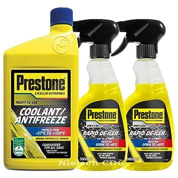 Prestone Líquido listo mezcla anticongelante refrigerante 1L + disparador de Prestone Líquido anticongelante 500 ml X2