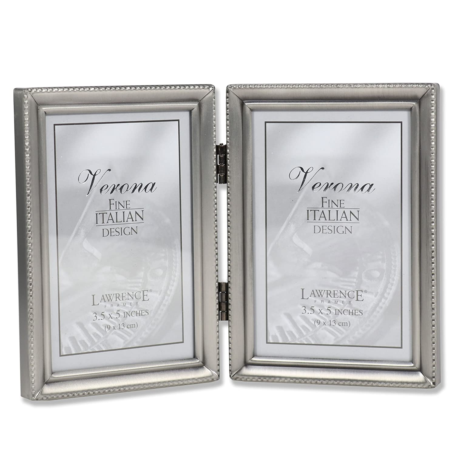 Amazon lawrence frames antique pewter hinged double 35x5 amazon lawrence frames antique pewter hinged double 35x5 picture frame beaded edge design jeuxipadfo Image collections