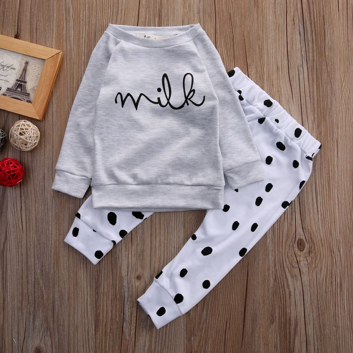 Baby Boy Girl 2pcs Set Outfit Milk Print Long Sleeve Top+Dot Pattern Long Pants