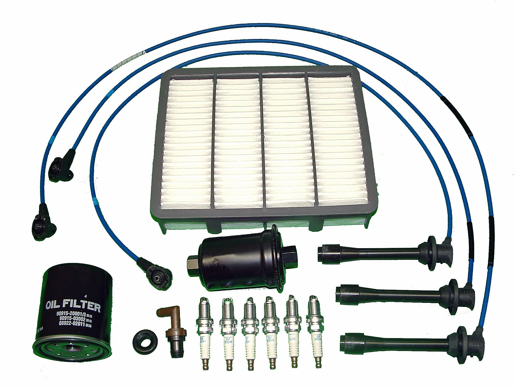 TBK Engine Tune Up Parts Kit Replacement for Toyota Tacoma 1996-2004 3.4 Toyota 4runner 1996-2002 Includes all filters, PCV valve and grommet NGK spark plugs and NGK Ignition Wires by TBK Timing Belt Kit