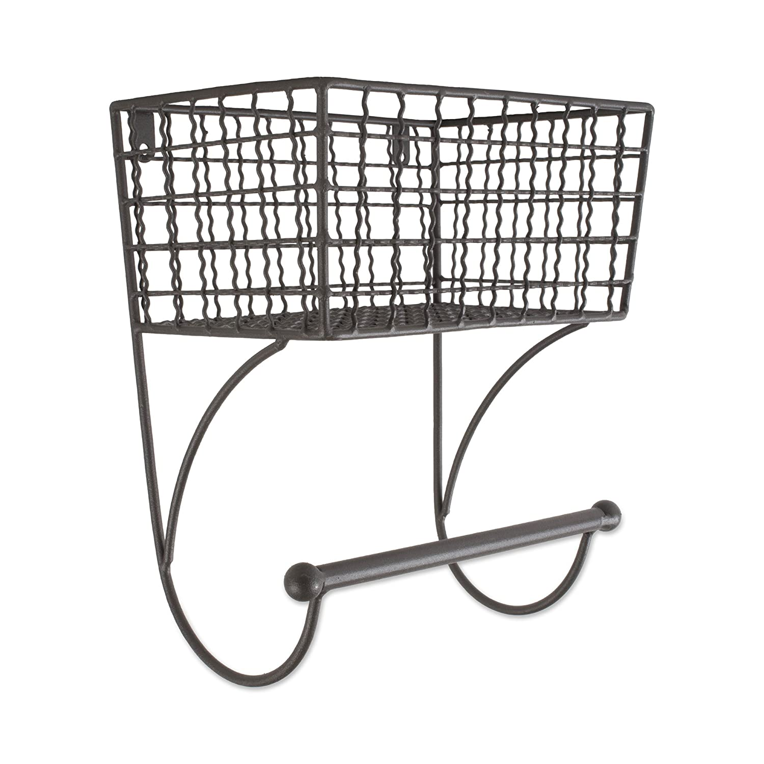 DII Home Traditions Rustic Metal Wall Mount Shelf Towel Bar, Small-Gray Z02226