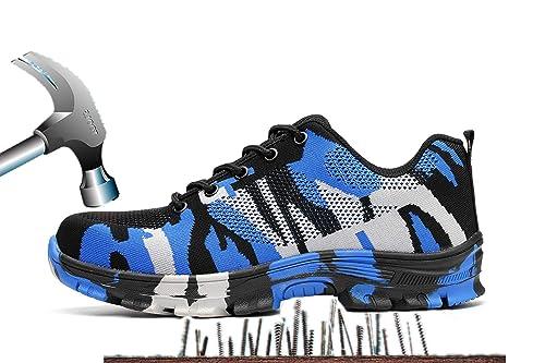 Axcer Hombre Mujer Zapatillas de Seguridad con Puntera de Acero Antideslizante Transpirable S3 Zapatos de Trabajo