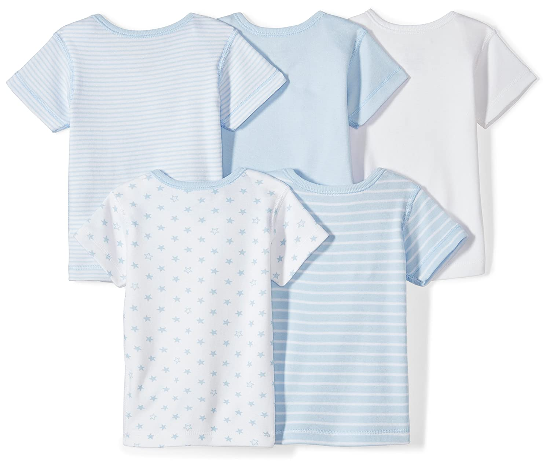 Moon and Back Baby Set of 5 Organic Crewneck Short-Sleeve Shirts