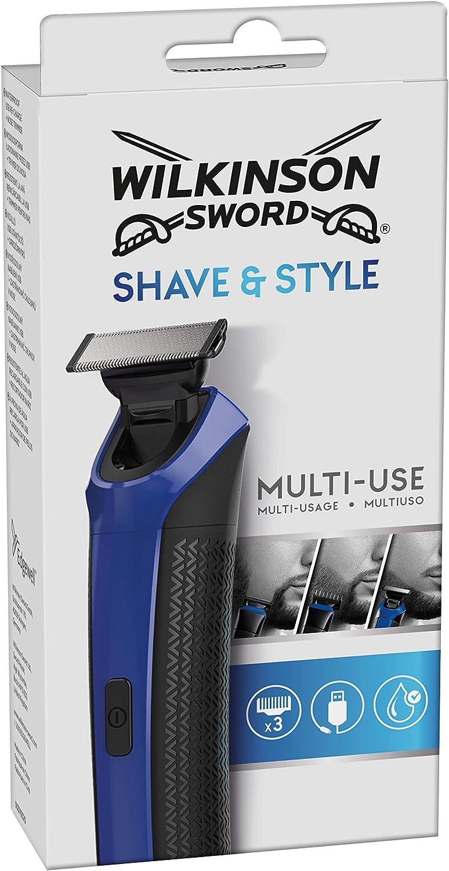 Wilkinson Sword Shave & Style - Maquinilla de Afeitar Multiusos Recargable con USB para Hombre, Recortador de Nariz, Peine de 3 Posiciones, Resistente al Agua