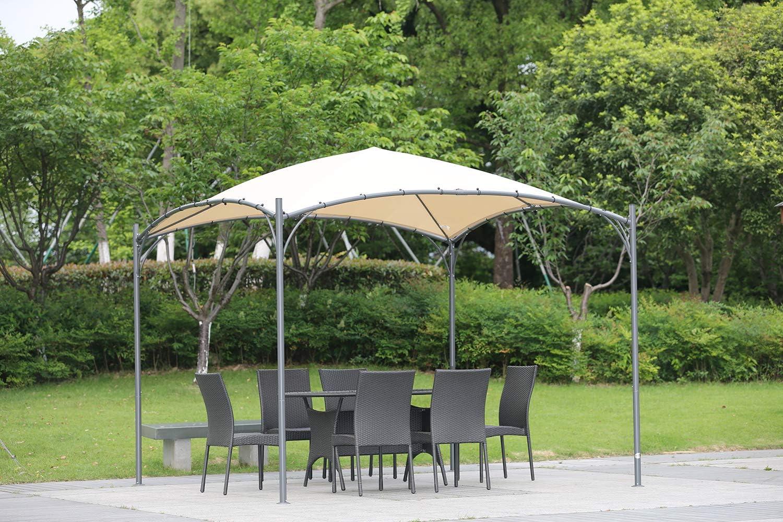 Angel Living 3 x 3 m ARC Canopy Pabellón Gazebo de Acero con Techo de Poliéster de 180g/㎡ para jardín Patio Resistente al Agua y UV: Amazon.es: Jardín