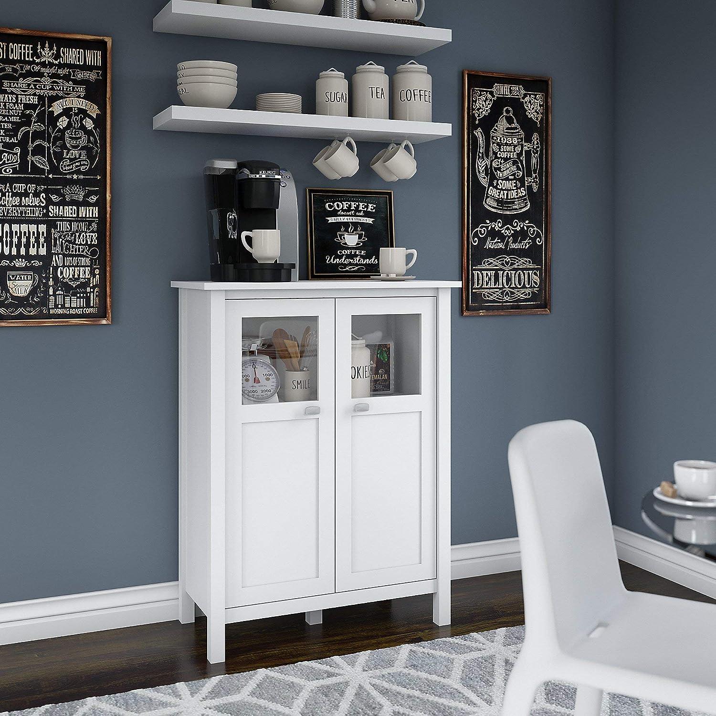 Bush Furniture Bar Cabinet with Wine Storage, Pure White