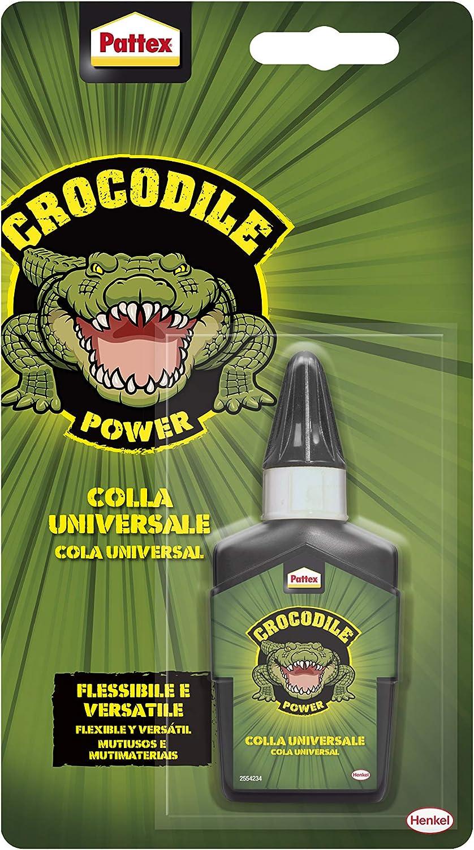 Pattex Crocodile Power Cola Universal, cola transparente con gran agarre inicial, pegamento multiusos para metal, plástico y más, pegamento fuerte para todo, 1x50g