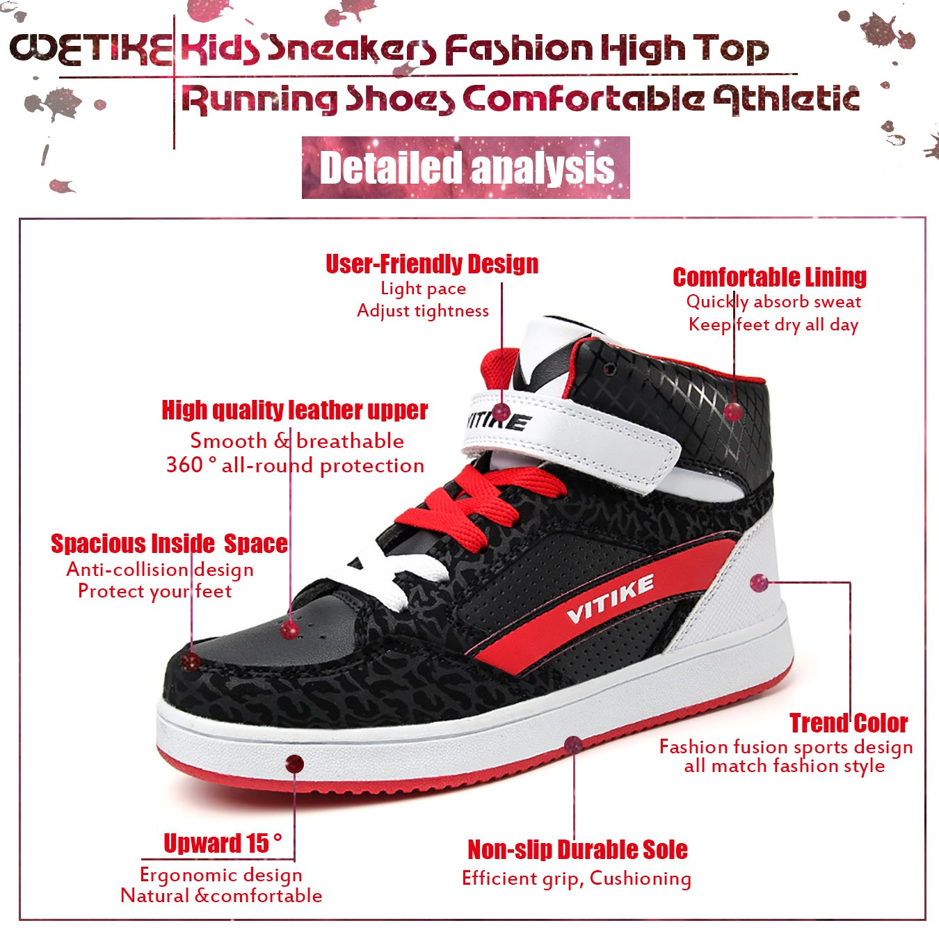 1d62bcabe700 Amazon.com  WETIKE Men Sneakers High Top Casual Women Sports Shoes Fashion  Leather Running Walking Shoes Street Skateboard Shoes Slip-on  Shoes