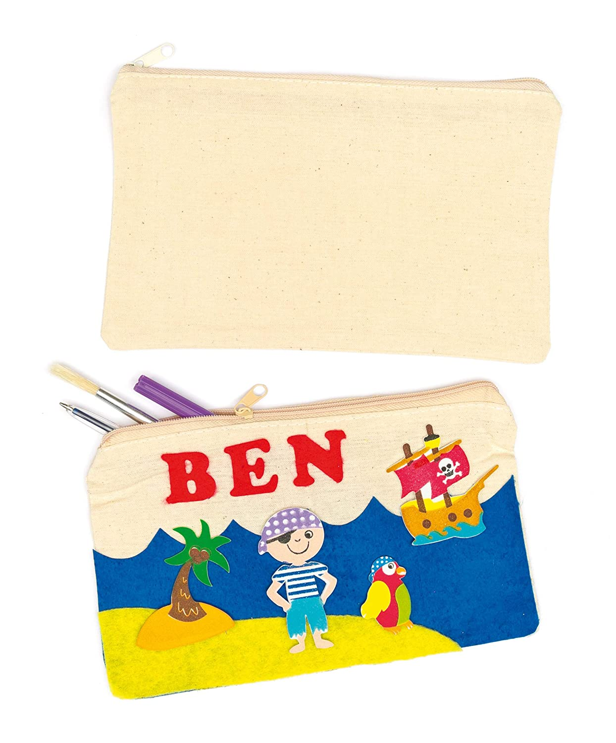 8e805425736d Baker Ross Fabric Pencil Cases (Pack Of 5) For Kids Arts and Crafts
