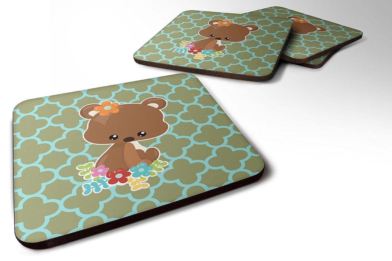 Caroline 's Treasures bb6797fcのセット4赤ちゃんブラウンBear Foamコースターのセット4、3 1 / 2 x 3 1 / 2、マルチカラー   B06ZY2W9GV