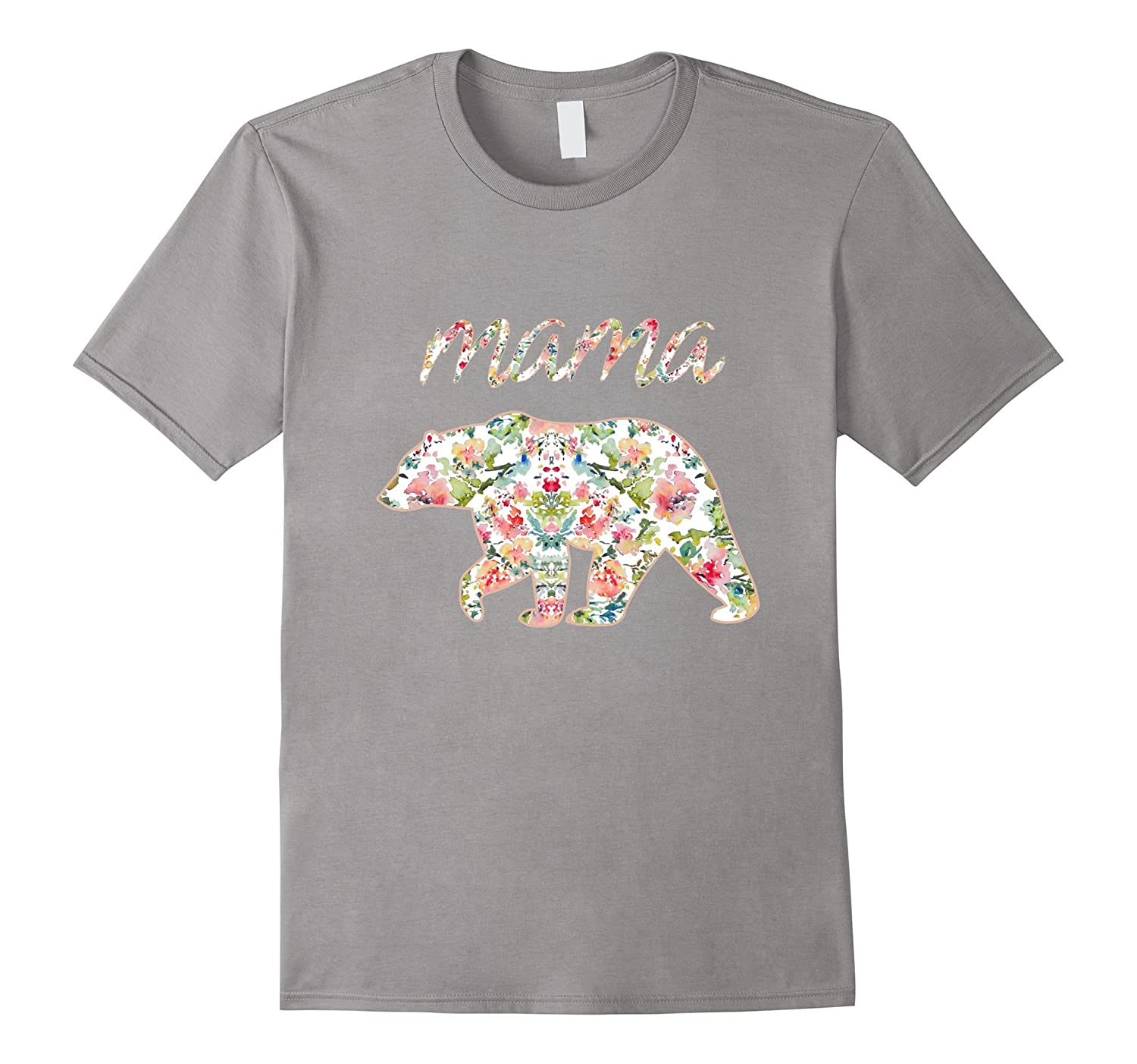 Mama Bear Floral Tee Mom Graphic T-Shirt Matching Family-TH