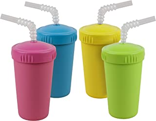 product image for Re-Play Made in USA 4pk Straw Cups with Reversible Straws  Made from Eco Friendly Heavyweight Recycled Milk Jugs - Virtually Indestructible   Bright Pink, Sky Blue, Yellow and Lime Green   Easter+