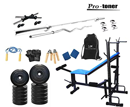 Protoner 20 kg home gym kit with 8 in 1 multipurpose bench Weights