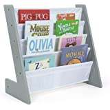 Humble Crew Kids Bookshelf 4 Tier Book Organizer, Inspire Collection, Grey/White
