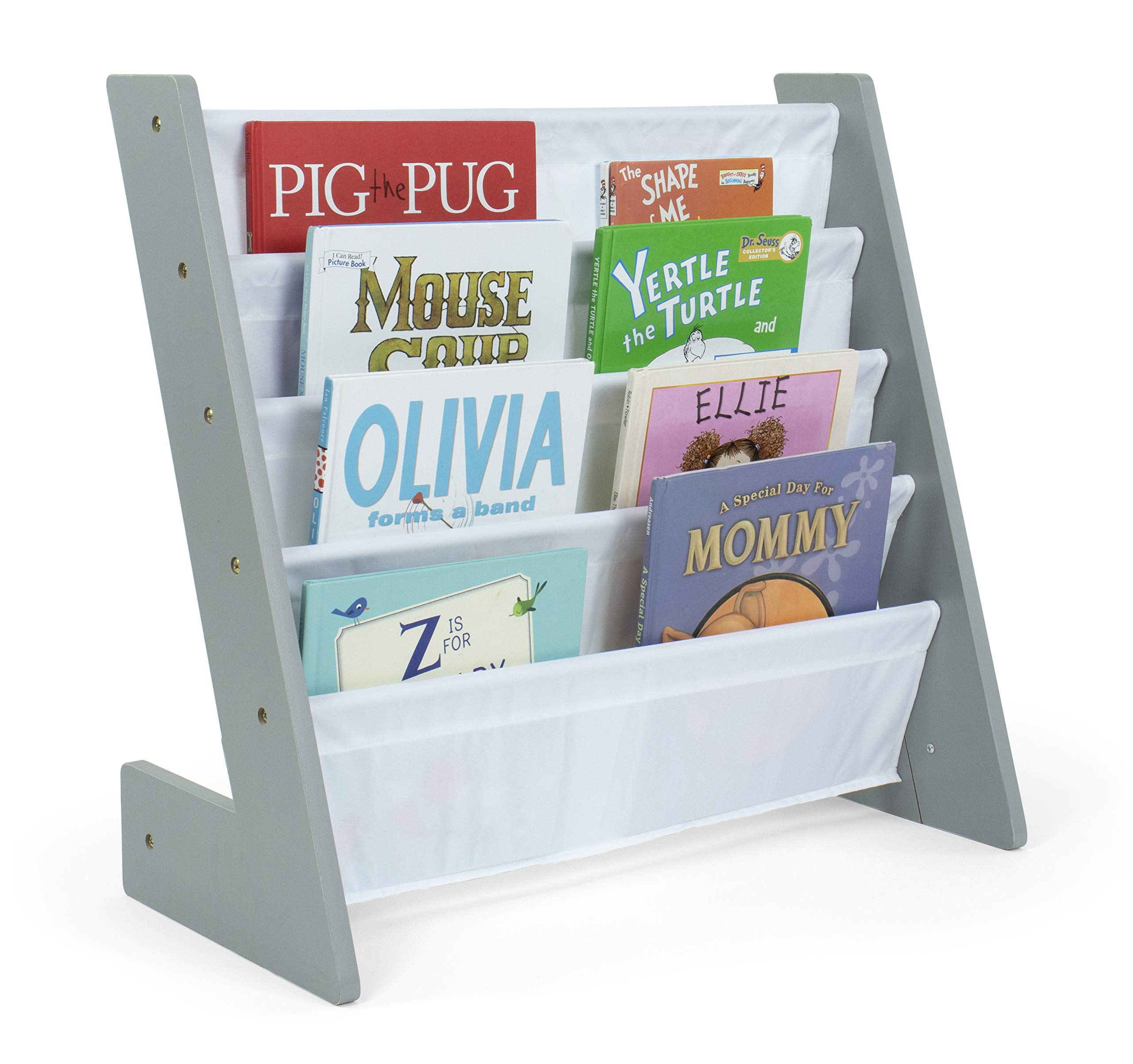 Humble Crew Kids Bookshelf 4 Tier Book Organizer, Inspire Collection, Grey/White by Humble Crew