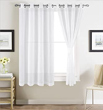 Amazon.com: BHU Faux Linen Sheer Curtains for Bedroom ...