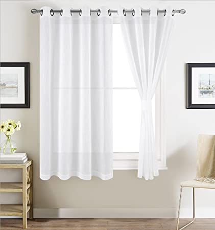 BETTER HOME USA Linen Textured Sheer Window Curtains for Bedroom White  Sheer Curtain for Living Room 54 inch Width x 46 inch Length Grommet  Curtain ...