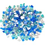 Stanbroil 10-Pound Blended Fire Glass - 1/2 inch Reflective Tempered Fire Glass Blended Aqua Blue, Platinum, Cobalt Blue…