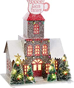 10.25-Inch Rustic Lighted North Pole Christmas Village Decoration – Tabletop Decorative Holiday Home Decor with Timer (Cocoa Factory)