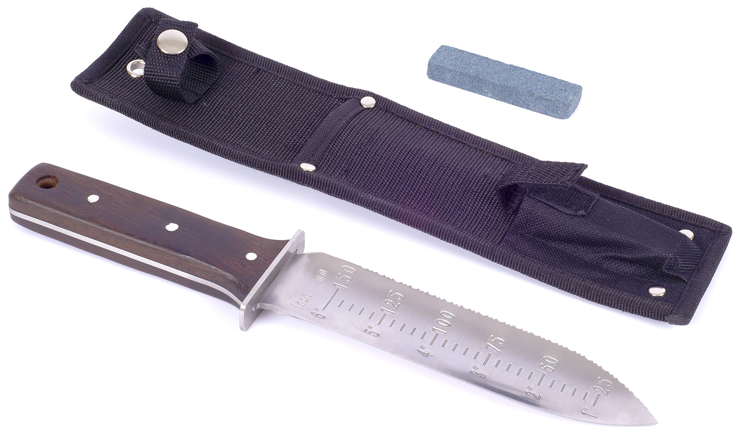Secret Garden Japanese Hori Hori Knife All Purpose Garden Knife Landscaping Digging Tool With Stainless Steel Blade Sheath and wet stone sharpening tool (Large) by Secret Garden