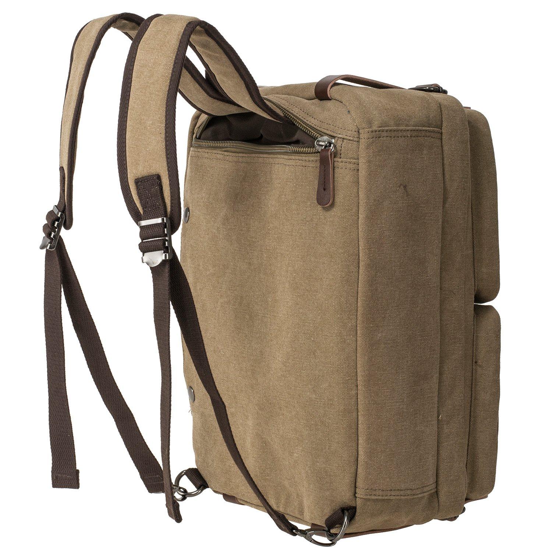 HIKA Vintage 3-Way Convertible Briefcase Laptop Backpack Messenger Bag Backpack-Vintage Khaki by HIKA (Image #2)