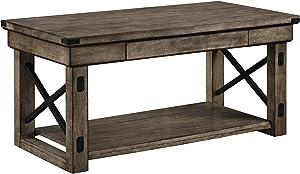 Ameriwood Home Wildwood Wood Veneer Coffee Table, Rustic Gray