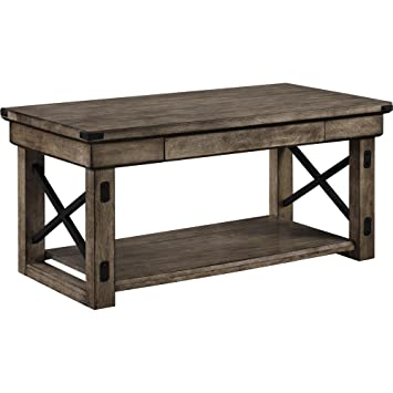 Amazon Altra Wildwood Wood Veneer Coffee Table Rustic Gray