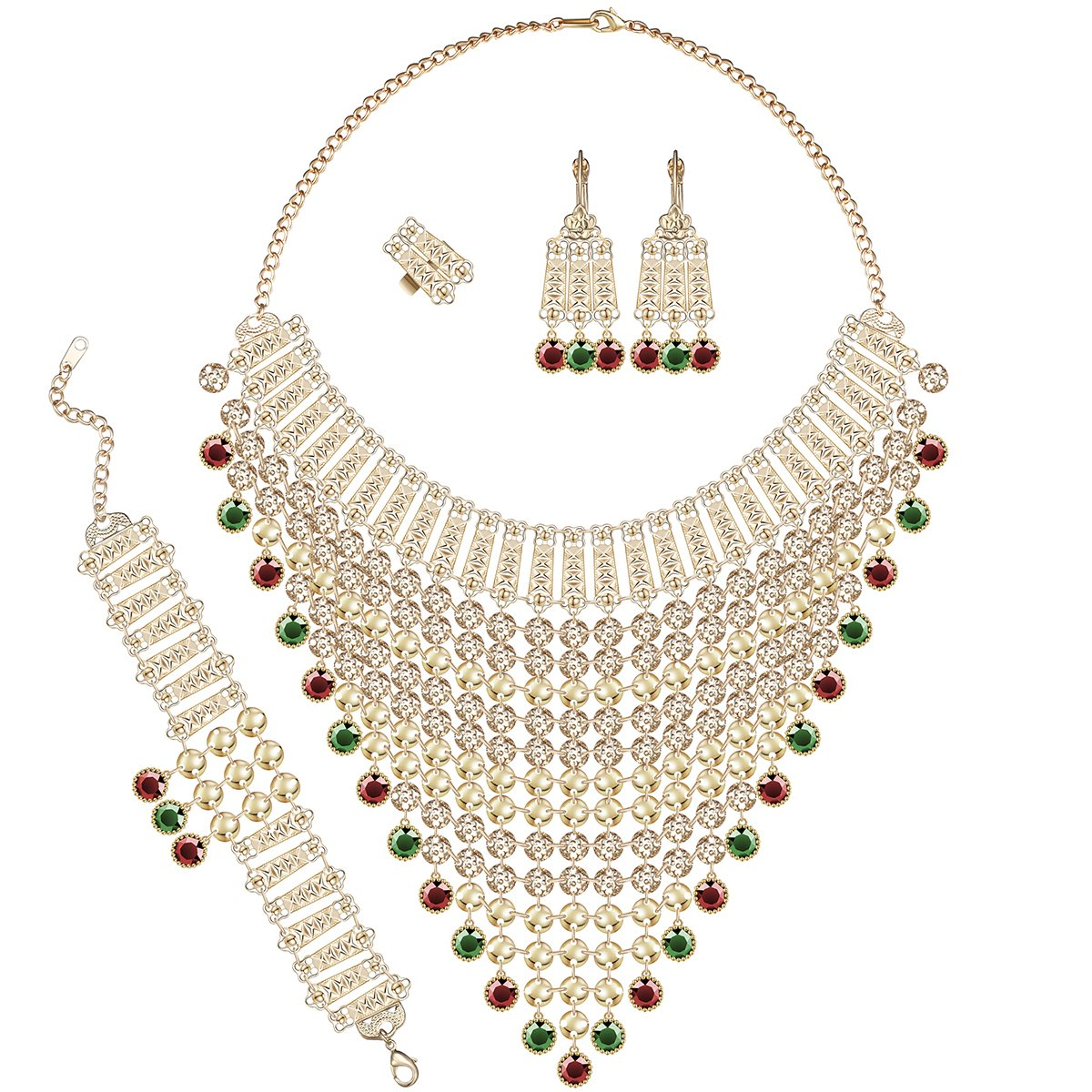 Moochi African style Golden Chain Colorfyul Beads tassels Long Chunky Jewelry Sets