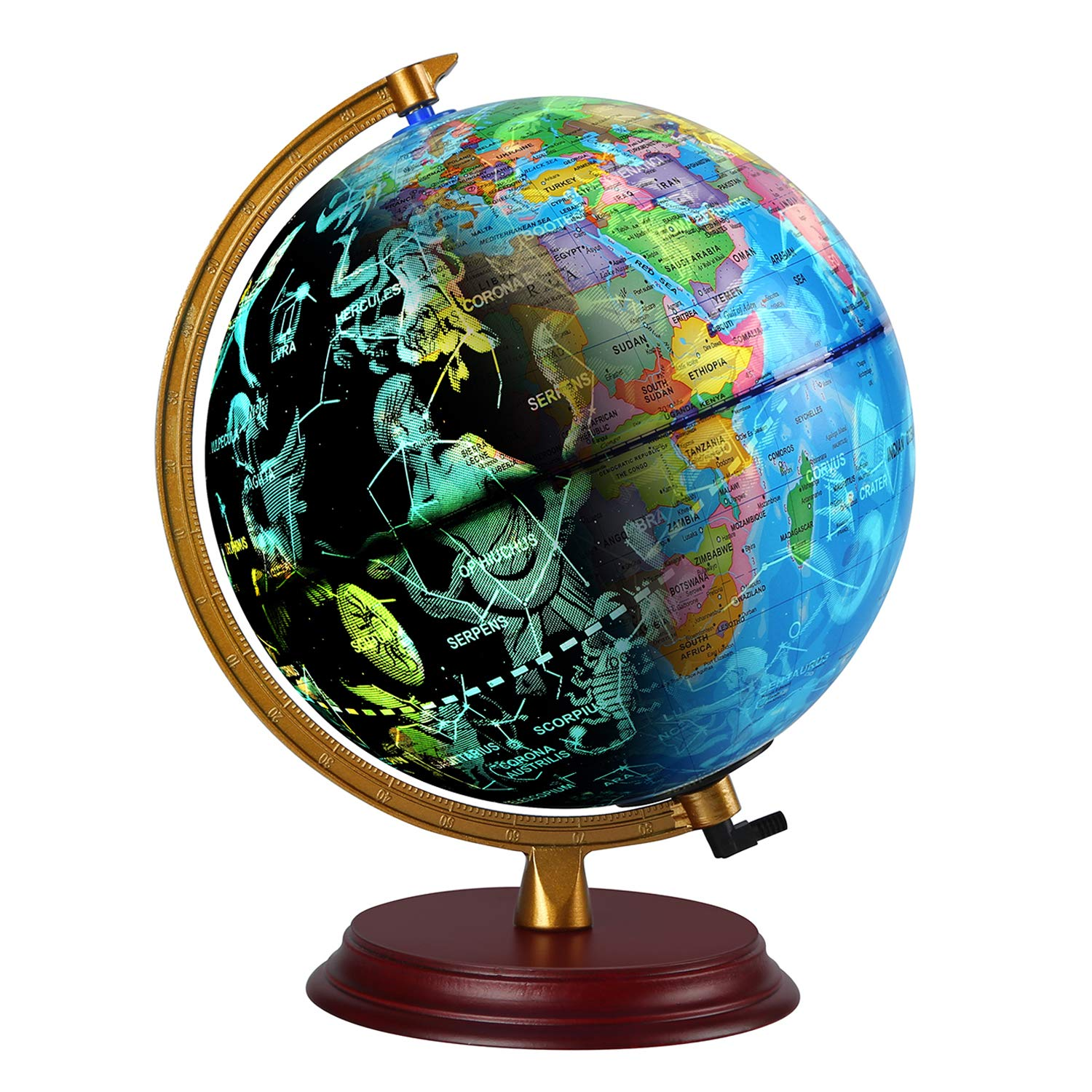 TTKTK Illuminated World Globe with Wooden Base - Night View Stars Constellation Pattern Globe with Detailed World Map,Built-in LED Bulb, No Battery Required, Educational Gift, Night Stand Decor by TTKTK