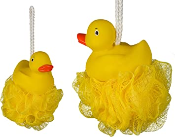 Flotador & Play – Pack de 2 esponjas de baño de nailon con Squeaking pato – mejor venta