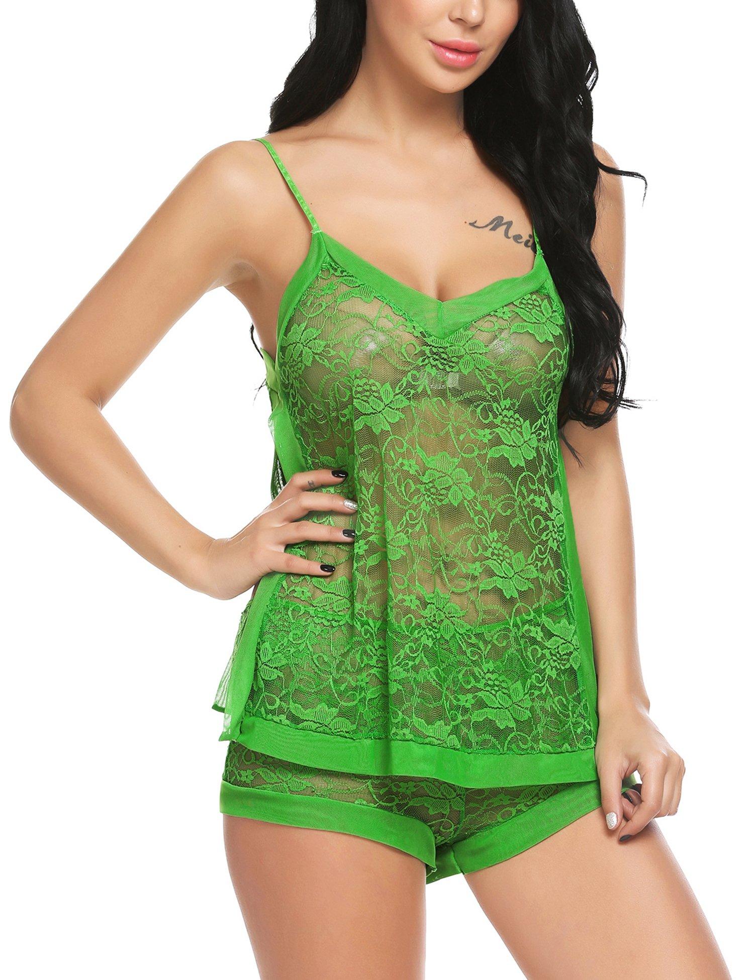 Avidlove Women Teddy Sexy Lingerie Outfit Pajam Short Set,Green,Medium