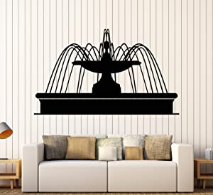 Vinyl Wall Decal Fountain Park Water Garden Design Rooms Stickers Large Decor (949ig) Dark Blue