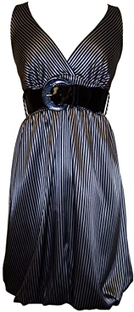 Amazon.com: Pinstriped Satin Belted Bubble Dress Plus Size: Clothing