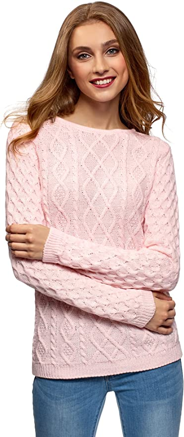 oodji Ultra Mujer Jersey de Punto Texturizado con Lazos en la Espalda, Rosa, ES 44 / XL