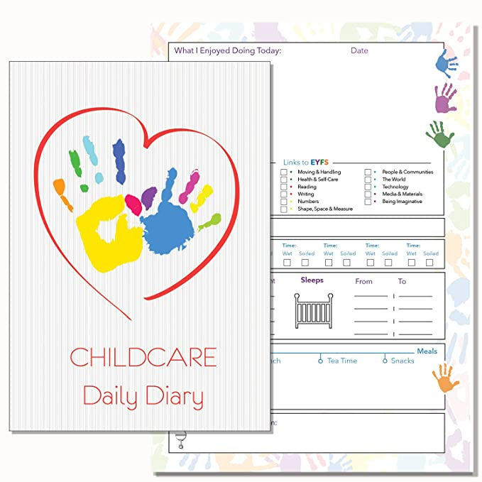 Childcare Daily Diary, EYFS, Daily Record Book, Childcare Professionals,  Childminders 01 (Colour Cover)