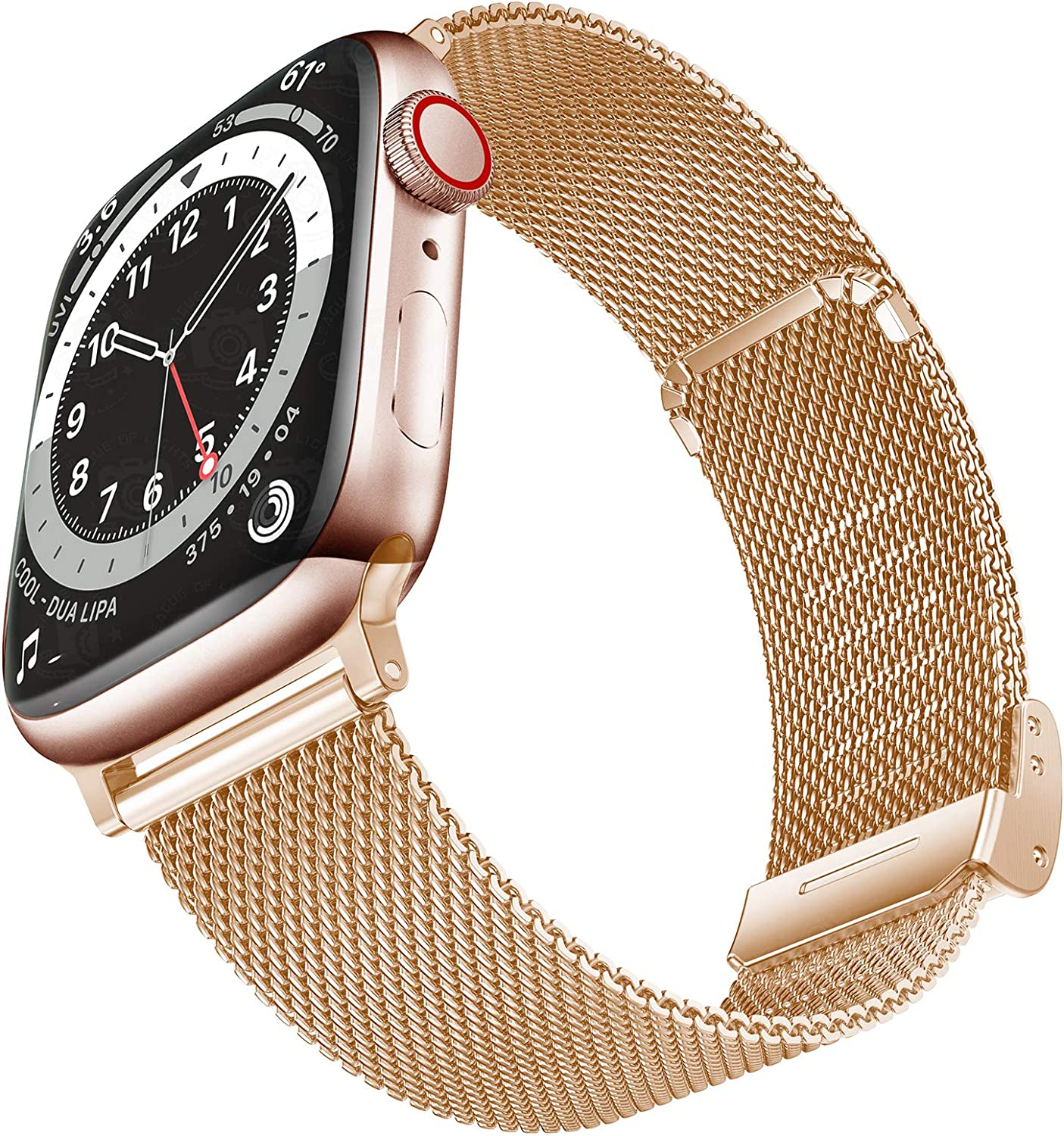 Geoumy Bands Compatible with Apple Watch Band 38mm 40mm, Stainless Steel Milanese Mesh Loop Replacement Men Women Strap for iWatch Series SE/6/5/4/3/2/1,Rose Gold