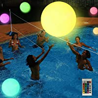 Large swimming pool float and LED illuminated beach ball with remote control-16 color lights and 4 light modes   Ideal…