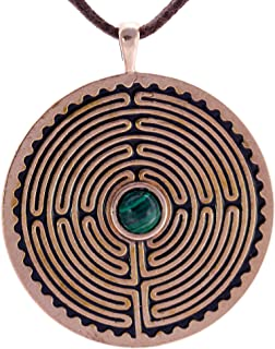 product image for Labyrinth Peace Bronze Pendant Necklace with 6mm Malachite Stone on Adjustable Natural Fiber Cord